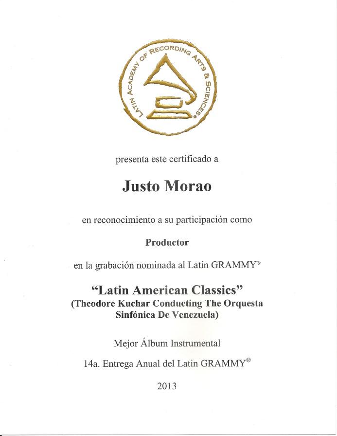 Certificado de Nominación al Latin Grammy de Justo Morao