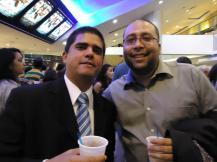 Justo Morao y el ingeniero de sonido Yein González