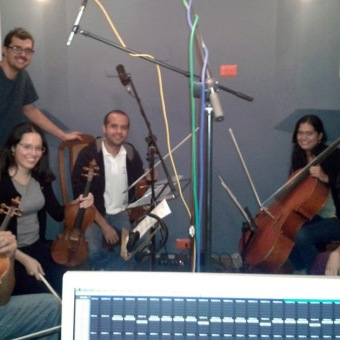 Grabación de quinteto de cuerdas