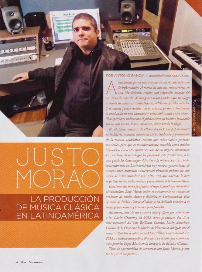 Entrevista a Justo Morao - Músico Pro Junio 2017 - pág. 1
